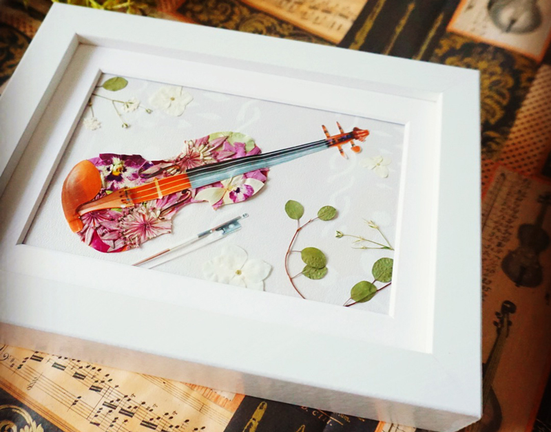 バイオリン発表会にのプレゼントに、ドライフラワーのボタニカルアートの